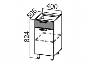 Стол-рабочий с ящиком и створками С400яс Арабика СВ 400х824х506