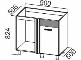 Стол-рабочий угловой под мойку М1000у Арабика СВ 900х824х506