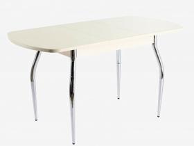 Стол раздвижной ПГ-01 СТ дуб молочный-стекло песочное