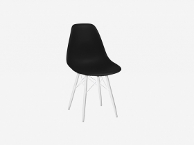 Стул Каскад-3 пластик черный-ножки металл белый глянец (4 шт.)